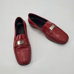 COACH red slip on penny loafers flats
